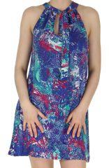 Robe courte d'été Bleue Originale et Colorée Ramani 285126