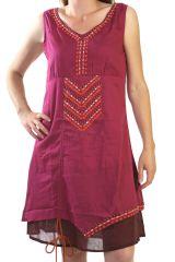 Robe courte d'été Brodée Ethnique et Originale Framboise Param 291303