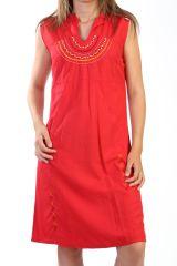 Robe courte d'été brodée Originale et Ethnique Rouge Hemadri 291231