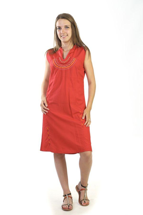 robe courte broderies originale et ethnique rouge hemadri. Black Bedroom Furniture Sets. Home Design Ideas
