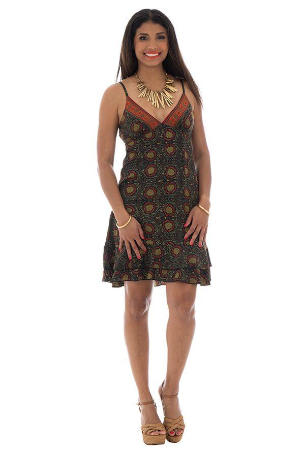 robe courte d'été col en v et fines bretelles Simeon 289886