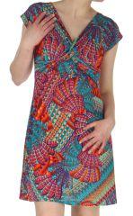 Robe courte d'été décolletée Originale et Colorée Dyuma Pétrole 284096