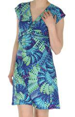 Robe courte d'été décolletée Originale et Colorée Dyuma Turquoise 284087