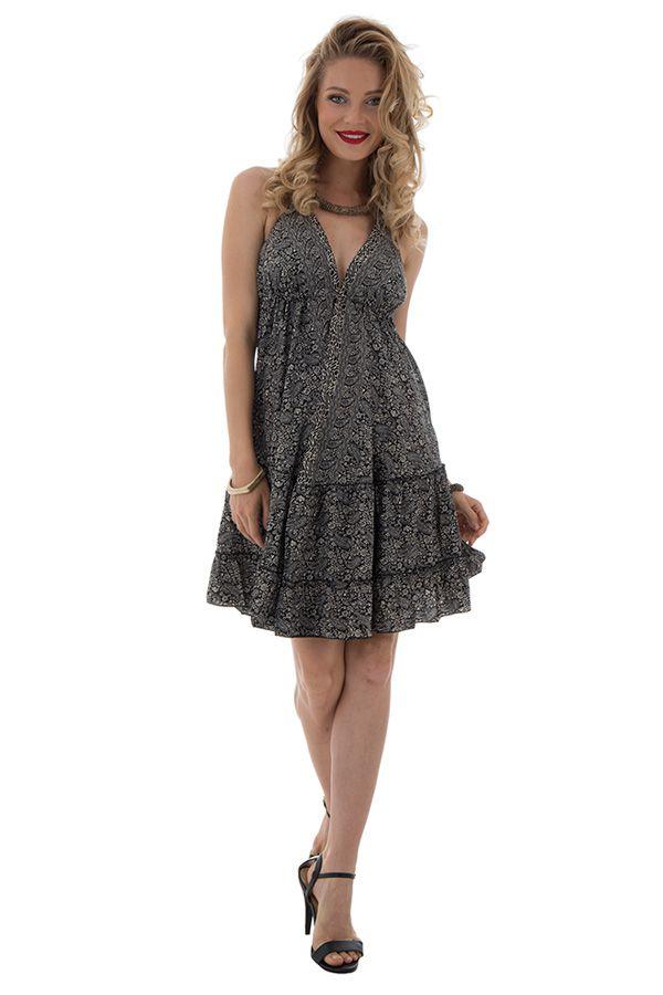 robe courte d'été dos nu avec bretelles à nouer et col plongeant Sterenn 289906