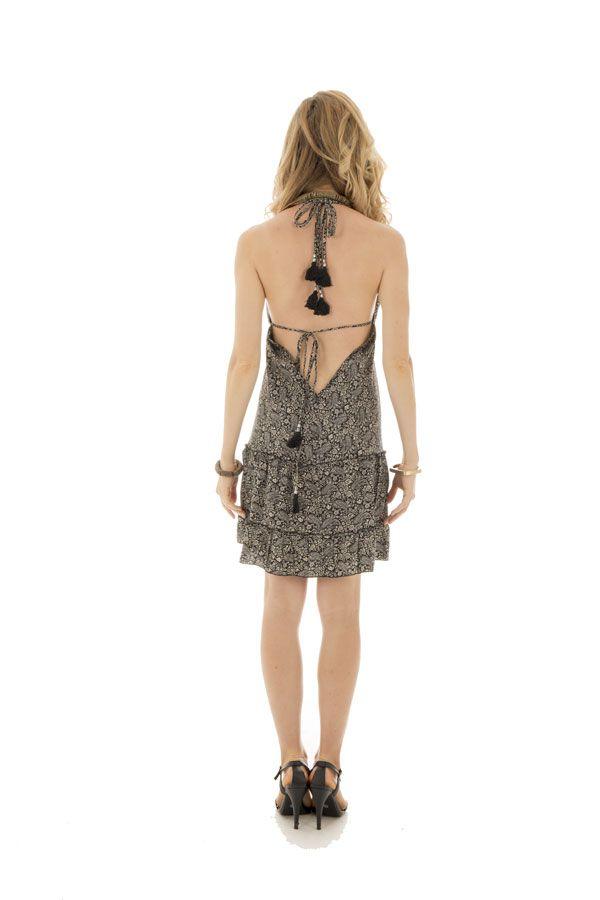 robe courte d'été dos nu avec bretelles à nouer et col plongeant Sterenn 289907