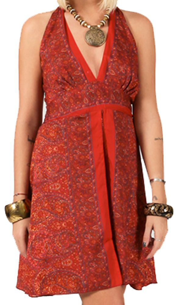 robe courte d 39 t dos nu ethnique et chic noella rouge. Black Bedroom Furniture Sets. Home Design Ideas