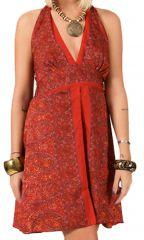 Robe courte d'été Dos nu Ethnique et Chic Noella Rouge 284638