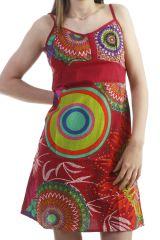 Robe courte d'été en coton look seventies rouge Deirdre 296821