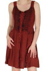 Robe courte d'été esprit Bohème au bustier laçé Amala Rouge 284060