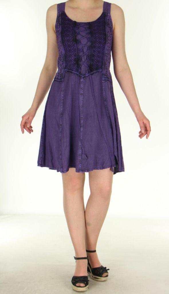 robe courte d 39 t esprit boh me mauve au bustier lac amala. Black Bedroom Furniture Sets. Home Design Ideas