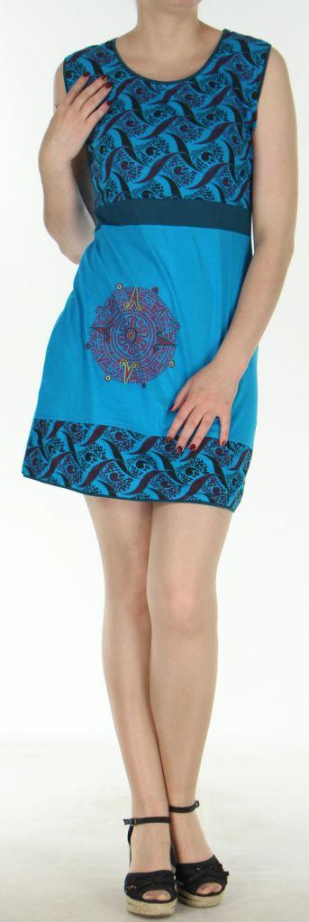 Robe courte d'été ethnique colorée bleue Chameli 272150