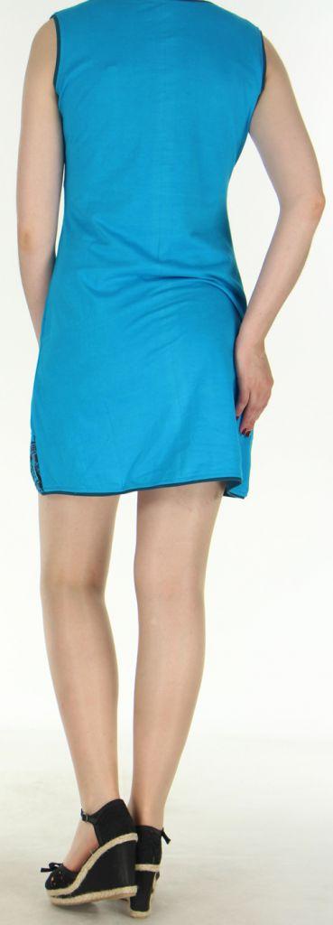 Robe courte d'été ethnique colorée bleue Chameli 272151
