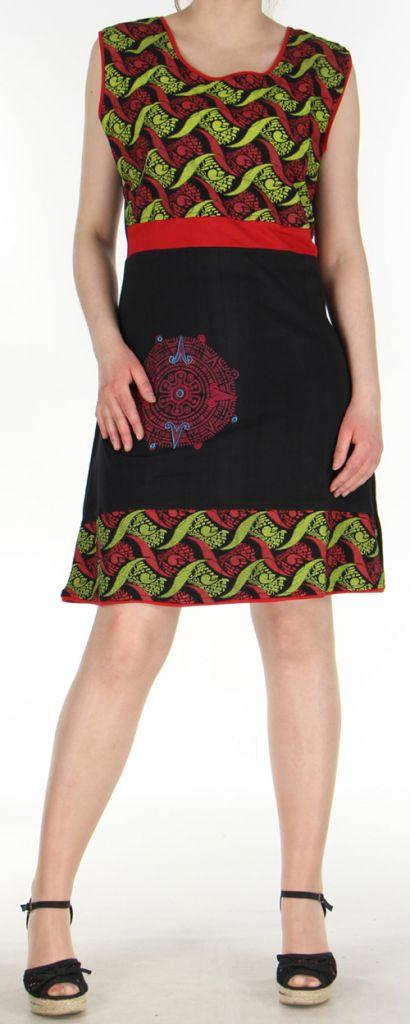 Robe courte d'été ethnique colorée noire, anis et rouge Chameli 271811