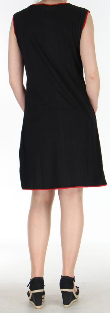Robe courte d'été ethnique colorée noire, anis et rouge Chameli 271812
