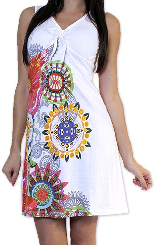 Robe courte d'été Ethnique et Colorée Alissa Blanche 276604