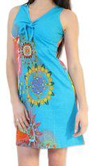 Robe courte d'été Ethnique et Colorée Alissa Bleue 276613