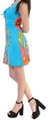 Robe courte d'été Ethnique et Colorée Alissa Bleue 276615
