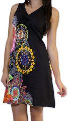 Robe courte d'été Ethnique et Colorée Noire Alissa 276609
