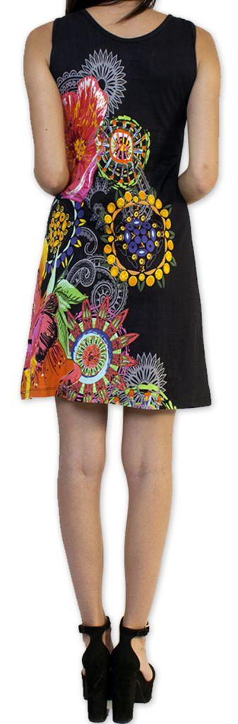 Robe courte d'été Ethnique et Colorée Noire Alissa 276612