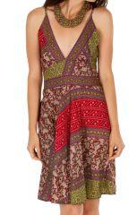 Robe courte d'été ethnique fleurie et fluide Conakry rose 314647