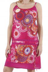 Robe courte d'été ethnique imprimée et colorée Ludivine 310412
