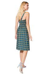 Robe courte d\'été femme ethnique chic mode imprimé vintage en coton Hilde