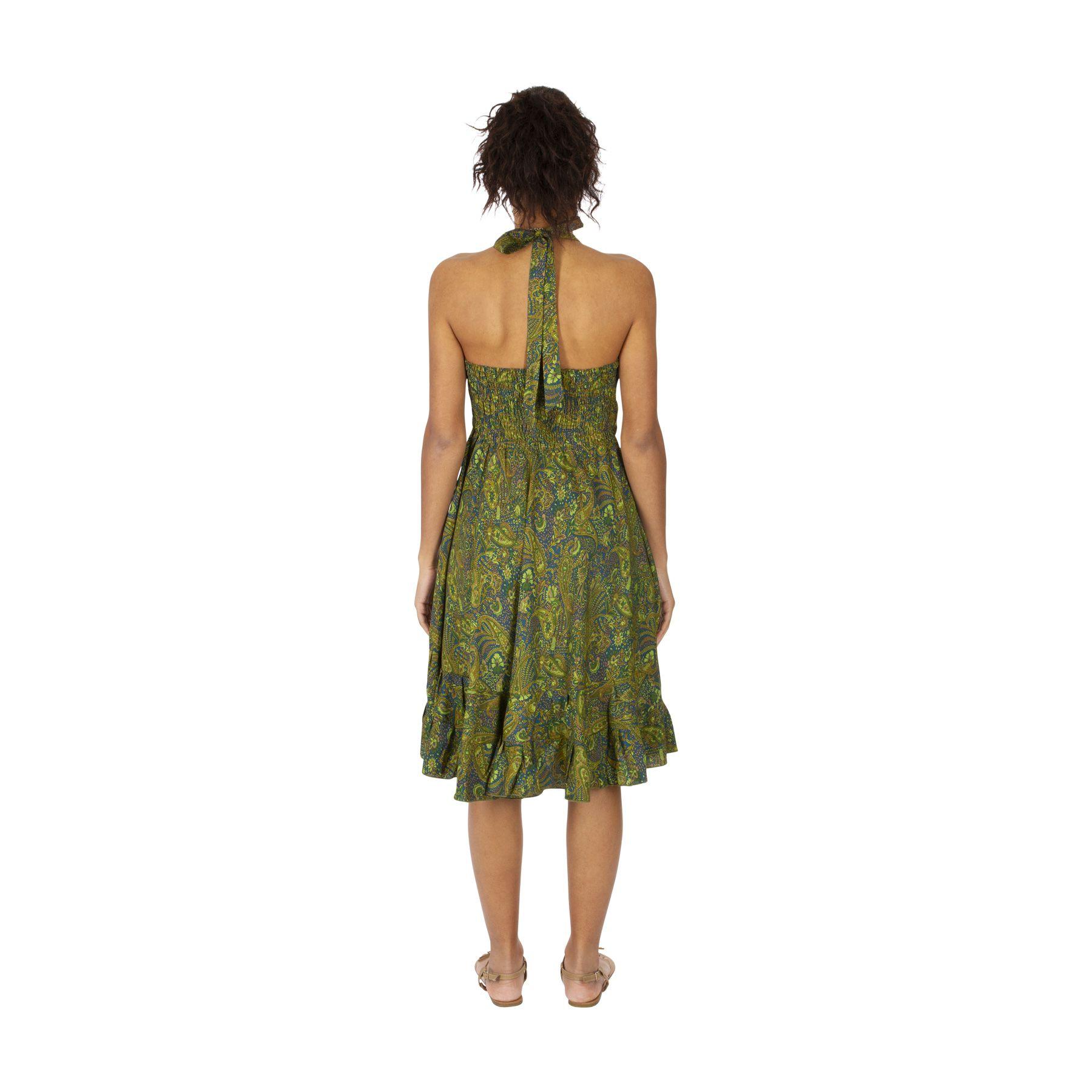Robe Courte D Ete Fluide A Tour De Cou Pour Femme Lisa Verte