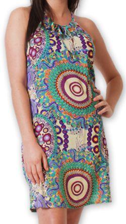 Robe courte d'été fluide Ethnique et Imprimée Teresa Verte 277183