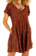 Robe courte d'été imprimée paisleys tendance Soma orange 314557