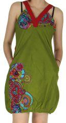 Robe courte d'été Kaki Ethnique et forme Boule Madurai 279600