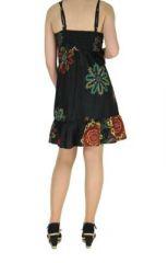Robe courte d'été noire col en V Laureen 267703