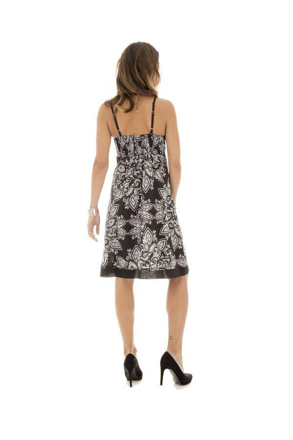 robe courte d 39 t noire et blanche en coton myru. Black Bedroom Furniture Sets. Home Design Ideas