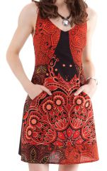Robe courte d'été Noire et Rouge à bretelles Originale et Fantaisie Vanou 281318