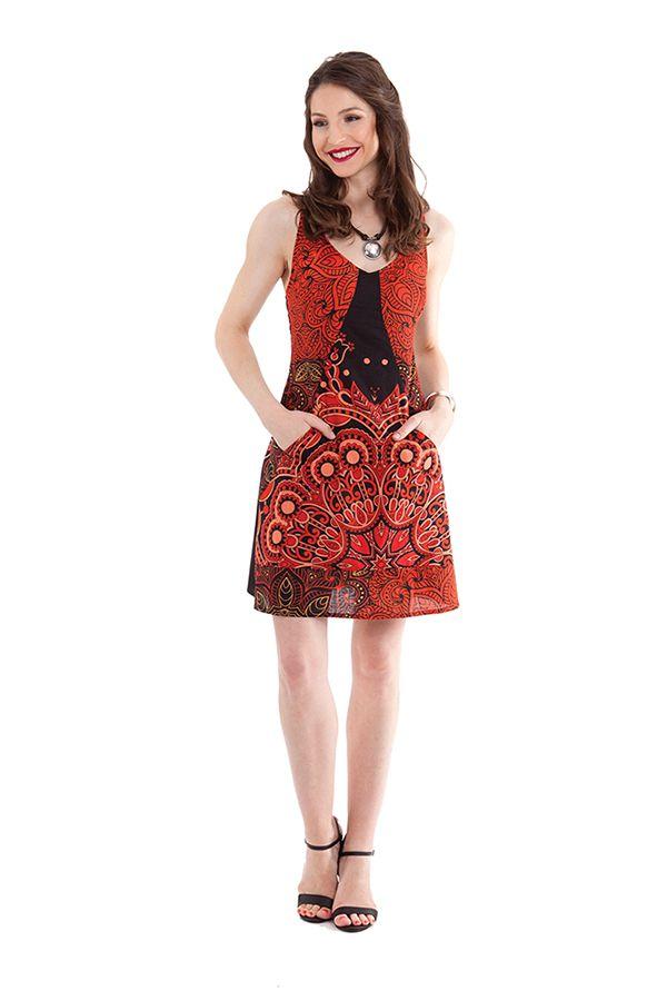 robe courte d ete noire et rouge a bretelles originale et fantaisie vanou. Black Bedroom Furniture Sets. Home Design Ideas