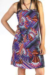 Robe courte d'été nouée Imprimée et Ethnique Turquoise Ishya 291574
