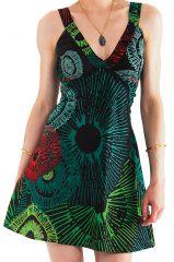 Robe courte d'été Originale et Colorée Bérénice Noir et Verte 281621