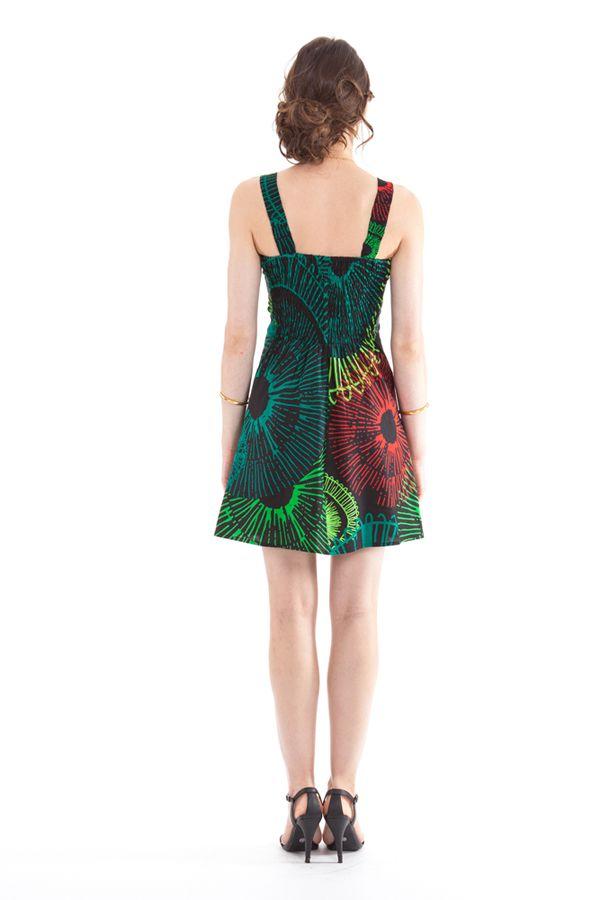 Robe courte d'été Originale et Colorée Bérénice Noir et Verte 281623