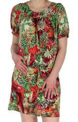Robe courte d'été Originale et Colorée Christina Verte 283056