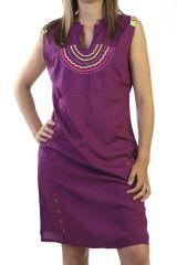 Robe courte d'été Originale et Ethnique couleur Mauve Ratnam 291223