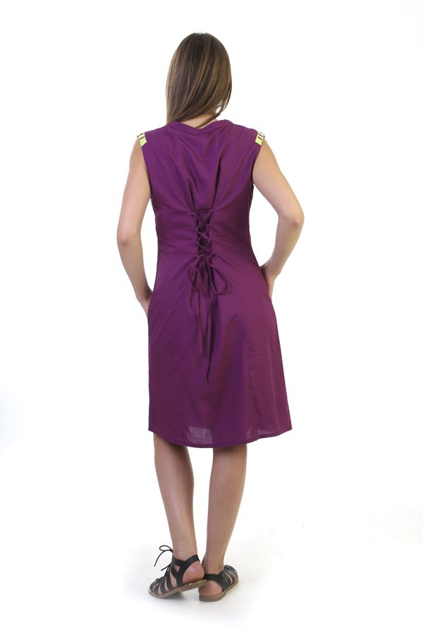 robe d 39 t avec broderies originale et ethnique mauve ratnam. Black Bedroom Furniture Sets. Home Design Ideas
