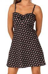 Robe courte d'été Pas Chère Noire Originale et Imprimée Maylan 285964