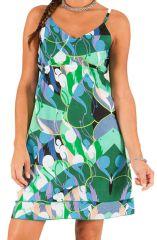 Robe courte d'été Pas Chère Verte Originale et Imprimée Vanel 285953