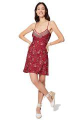 Robe courte d\'été pour femme caraco rouge chic style bohème Christiane