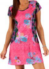 Robe courte d'été Rose à col rond Imprimée et Colorée Naybi 285945