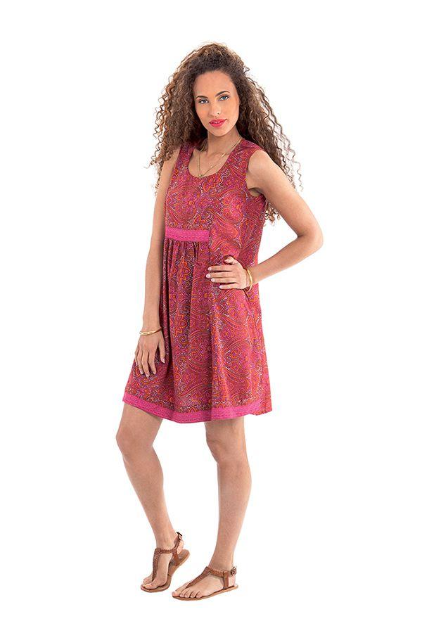 Robe courte d'été Rose sans manches Fashion et Ethnique Katia 280940