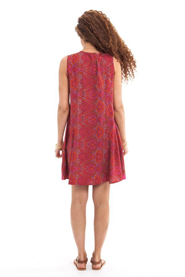 Robe courte d'été Rose sans manches Fashion et Ethnique Katia 280941