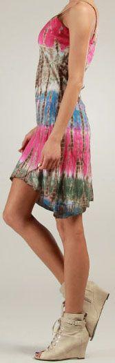Robe courte d'été Rose Tie and Dye Originale et Colorée Branda 276980