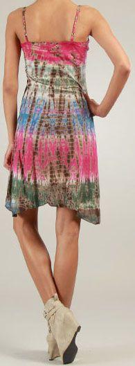 Robe courte d'été Rose Tie and Dye Originale et Colorée Branda 276981