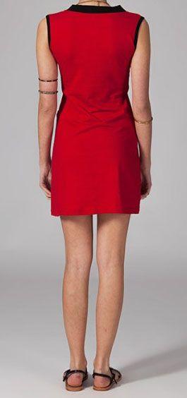 Robe courte d\'été rouge col en V mirza