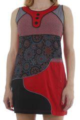 Robe courte d'été sans manches et stylée patchwork Chamilia 312078